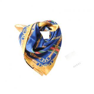 Gucci Blue & Yellow Silk Printed Neck Tie/Scarf