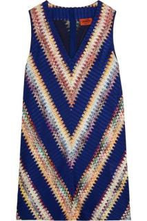 Missoni Blue Crochet Chevron Sleeveless A-Line Dress