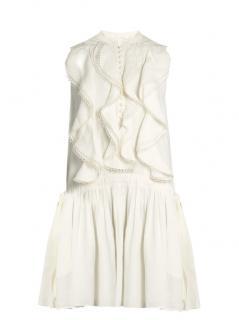 Chloe White Sleeveless Ruffle Front Linen Dress