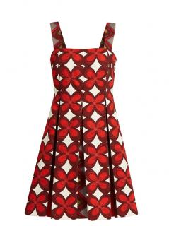 Valentino White & Red Linen Blend PLeated Dress