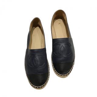 Chanel Navy Leather CC Espadrilles