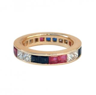 Bespoke Diamond, Ruby & Sapphire 18ct Gold Eternity Ring