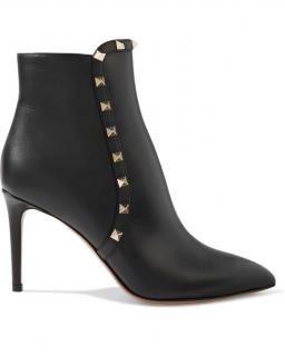 Valentino Grained Leather Black Rockstud Ankle Boots