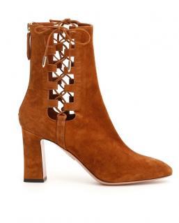 Aquazzura Medina Tan Suede Heeled Ankle Boots