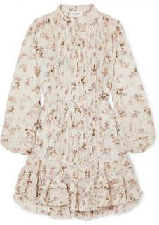Zimmermann Cream Floral Print Tiered Mini Dress