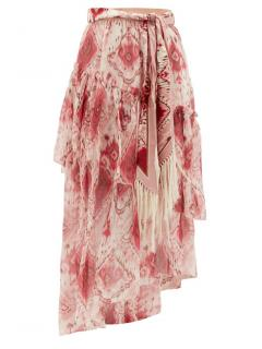 Zimmermann Pink, Red & Cream Ikat Wavelength Asymmetric Midi Skirt