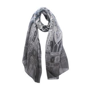 Etro Black Monogram Ombre Paisley Print Linen & Silk Scarf