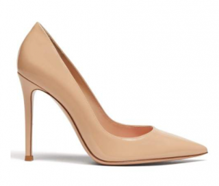 Gianvito Rossi Nude 105 Point-toe Patent-leather Pumps
