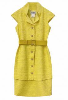 Chanel lemon yellow python belted tweed mini dress