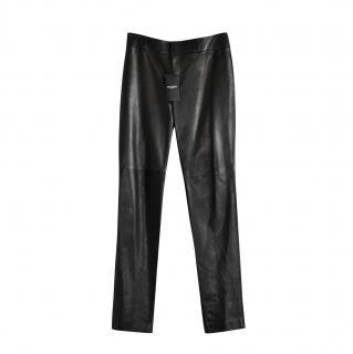 Saint Laurent Black Leather High Rise Pants