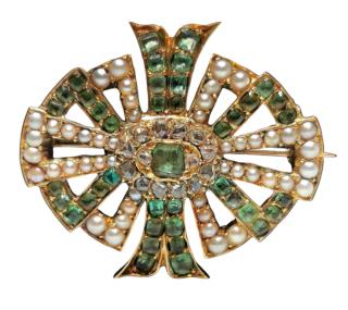 Bespoke 18ct Yellow Gold Diamond, Emerald & Pearl Georgian Brooch