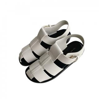 The Row White Leather Fisherman Sandals
