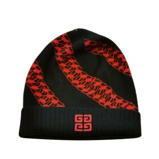 Givenchy Black & Red Wool Embroidered Beanie