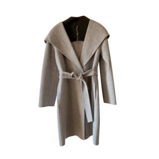 Max Mara Double Face Grey Wool Wrap Coat