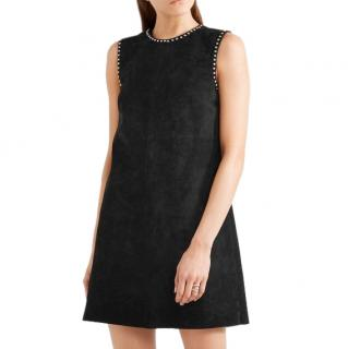 Miu Miu Black Suede Studded A-Line Mini Skirt