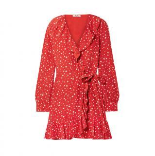 Miu Miu Red Star Print Silk Crepe Ruffle Mini Dress