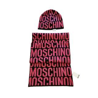 Moschino Pink & Black Lurex Wool Blend Knit Scarf & Hat