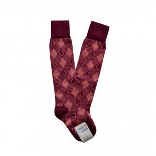 Gucci Mohair Blend Burgundy GUCCI Intarsia Socks
