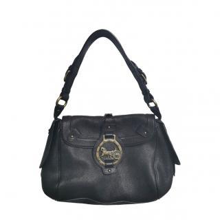 Celine black leather vintage shoulder bag