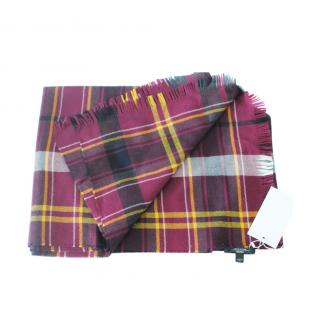 Max Mara Purple Wool Plaid Scarf