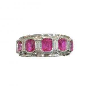 Bespoke emerald cut five stone Ruby and Diamond ring