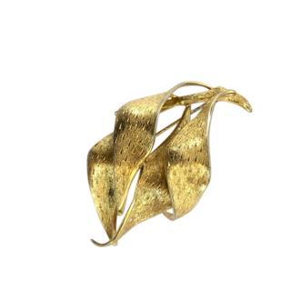 Christian Dior Vintage Gold Plated Leaf Brooch
