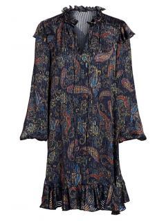 Maje Blue Jacquard Paisley Print Dress