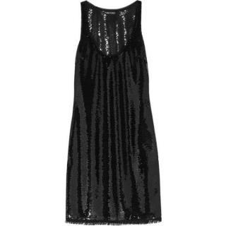 Tom Ford Black Sequin Embellished Tulle Mini Dress