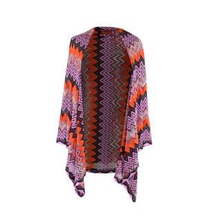 Missoni Orange & Fuchsia Chevron Knit Draped Cardigan