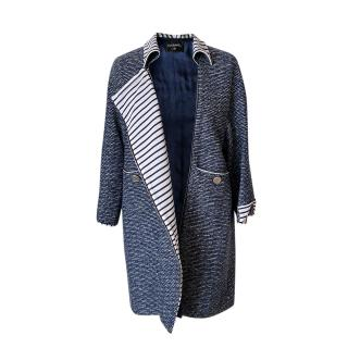 Chanel Blue & White Tweed Contrast Stripe Coat