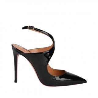 Aquazzura Black Patent Talama Sandals