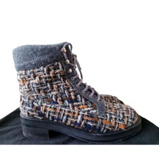 Chanel Multicoloured Tweed Lace-Up Ankle Boots
