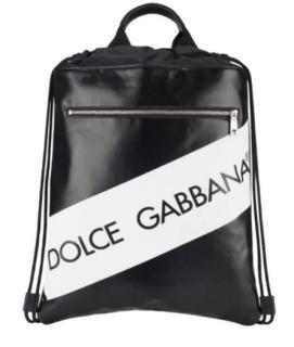 Dolce & Gabbana Black & White Leather Drawstring Backpack