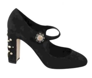 Dolce & Gabbana Embellished Suede Mary-janes