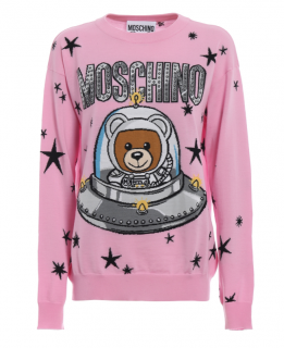 Moschino Couture Pink Space Teddy Intarsia Jumper