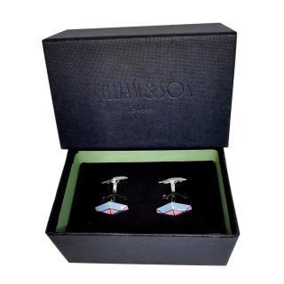 William & Son Pink & Blue Enamel Sterling Silver Cufflinks