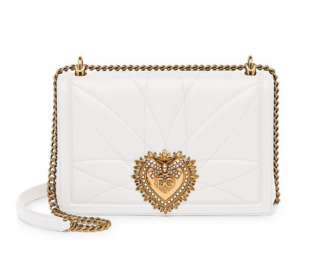 Dolce & Gabbana White Quilted Leather Devotion Shoulder Bag