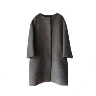 Prada Slate Grey Cashmere Single Breasted Coat