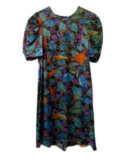 Erdem Multicoloured Printed Silk Puff Sleeve Dress