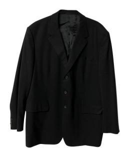 Prada Black Virgin Wool Single Breasted Blazer