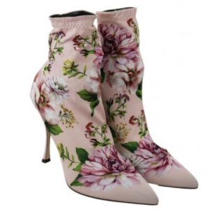 Dolce & Gabbana Blush Floral Print Stretch Sock Ankle Boots