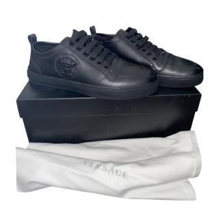 Versace Black Leather Medusa Head Low Sneakers