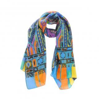Etro Silk & Linen Paisley Print Scarf