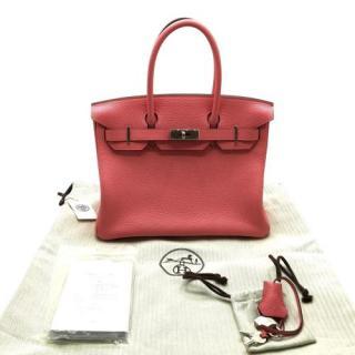 Hermes Pink Clemence Leather Birkin 30 PHW
