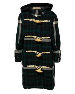 Burberry Black & Green Wool Hooded Duffle Coat