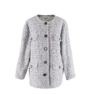 Chanel La Pausa Resort Blue Grey Tweed Collarless Jacket