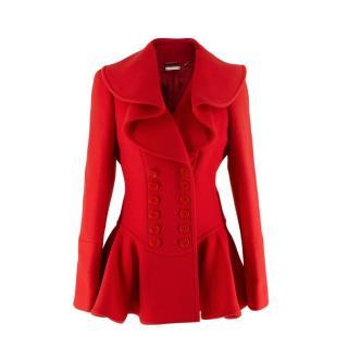 Alexander McQueen Cherry Red Wool Waterfall Collar Jacket
