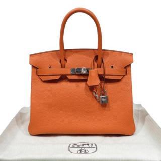 Hermes Orange Clemence Leather Birkin 30 PHW