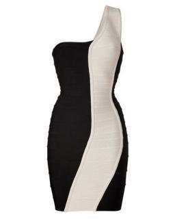 Herve Leger Black/Cream One Shoulder Bandage Dress