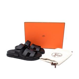 Hemes Black Chypre 36 Leather Sandals